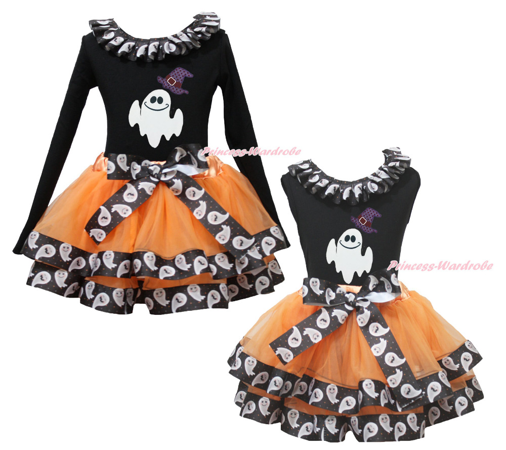 Halloween Black Top Hat White Ghost Lacing Satin Trim Skirt Girl Outfit NB-8Year акустика центрального канала heco elementa center 30 white satin
