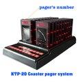 Coaster pager sistema de chamada restaurante serviço sem fio com teclado e 20 pcs pager convidado