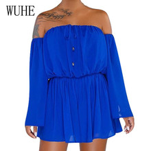 WUHE Fashion Casual Street Style Trend Multi-color Jumpsuits Summer New Arrival Sexy Offshoulder Long Sleeve Playsuits Rompers
