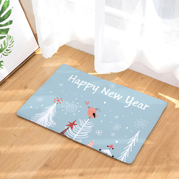 Comwarm Año Nuevo Navidad antideslizante puerta de entrada estera copo de nieve blanco fuegos artificiales coloridos alfombras de suelo ciervos animales plantas alfombra