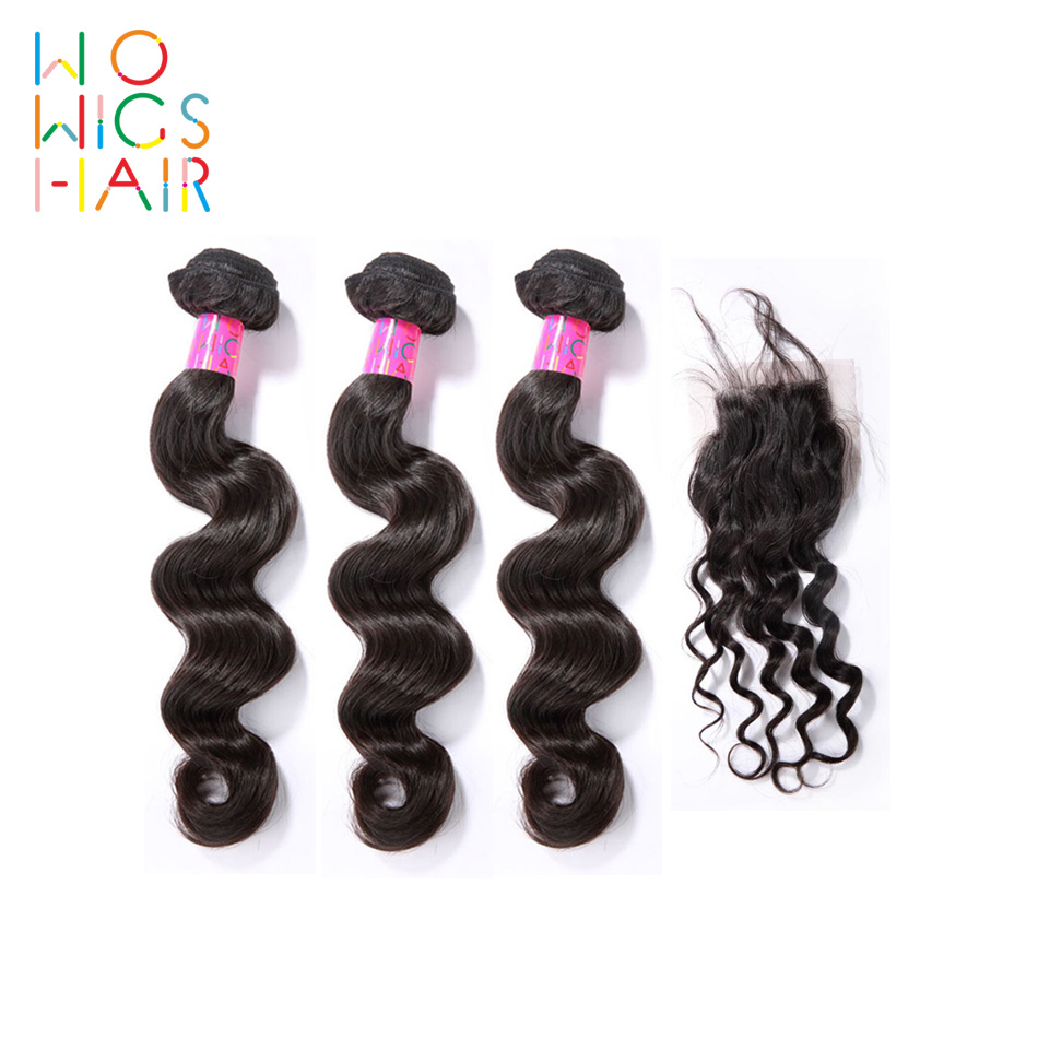 WoWigs Hair Peruvian Hair Remy Hair Loose Wave 3 Bundles Deal With Top Lace Closure / Frontal Natural Color 1B