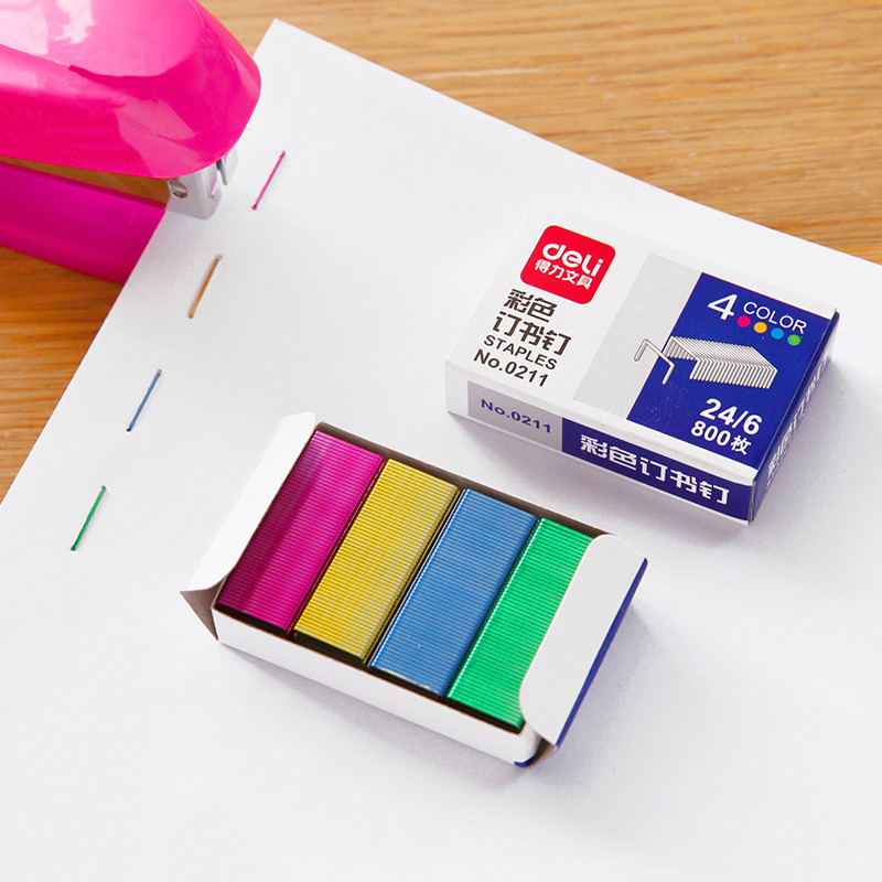 800pcs/1box Colored Staples Stainless Steel No.24 Staples Office Binding Supplies School Stationery 24/6 Cucitrice