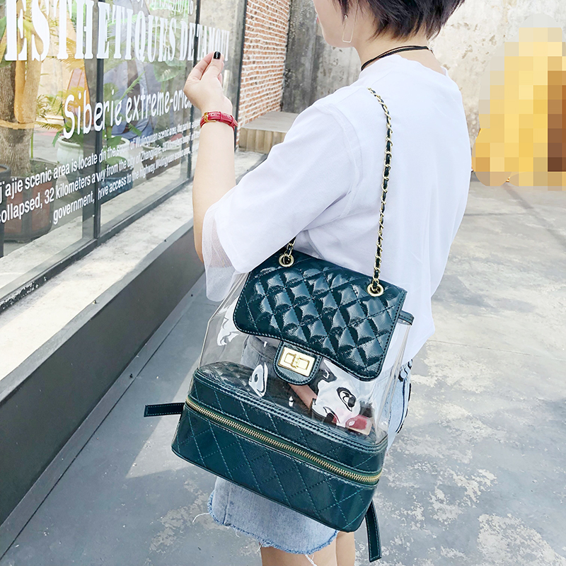 2018 Fashion New School Women Backpacks Preppy Female Backpack Transparent Backpacks For Girls PU Leather PVC Shoulder Bag 165 цена