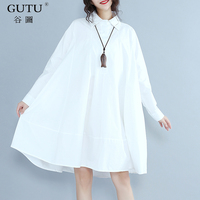 GUTU 2017 Autumn New Tide Korean Fashion Style Long Sleeved Solid Color Turn Down Collar