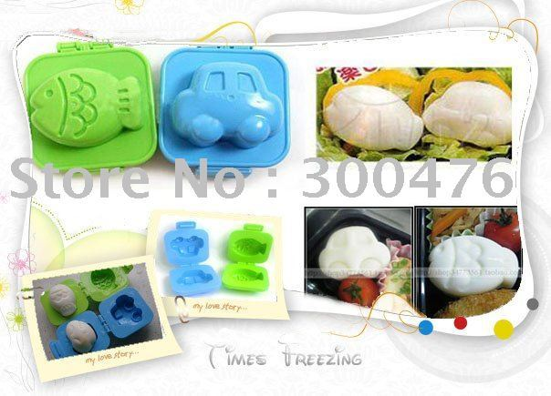 Wholesale 10pcs/lot New Korea Japan HK Taiwan Hot Car Fish Rice Egg Mould Mold Kids Baby Eating Set