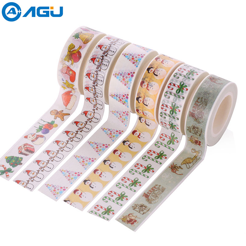 AAGU 1PC 15mm*10m Snowman Santa Claus Christmas Washi Tape Decorative Notebook Sticker Masking Tape Adhesive DIY Paper Tape aagu new arrival 1pc 15mm 10m musical note fresh floral washi tape strawberry sticky adhesive tape various patterns masking tape