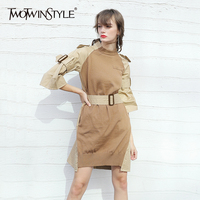 TWOTWINSTYLE Patchwork Knitting Dress For Women With Sashes High Waist Flare Sleeve Split O Neck Midi