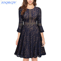2018 Spring Autumn Women's Lace Dresses New Fashion Solid color Big swing Dress Plus size Slim Lace Dresses female IOQRCJV N002