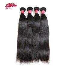 """Ali queen hair Products 4 шт. в партии натуральный цвет """"~ 30"""" бразильские Виргинские Необработанные прямые человеческие волосы плетение пучков"""