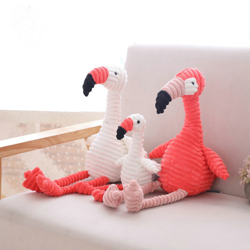 30cm Corduroy Plush Flamingo Toy Stuffed Animal Soft Baby Cuddly Pink & White Flamingo Dolls Toys For Children Kids Appease Toy