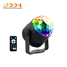 цена на [LTOON] 3W Mini RGB Crystal Magic Sound Activated Disco Ball Stage Lamp Lumiere Christmas Laser Projector Dj Club Party Light