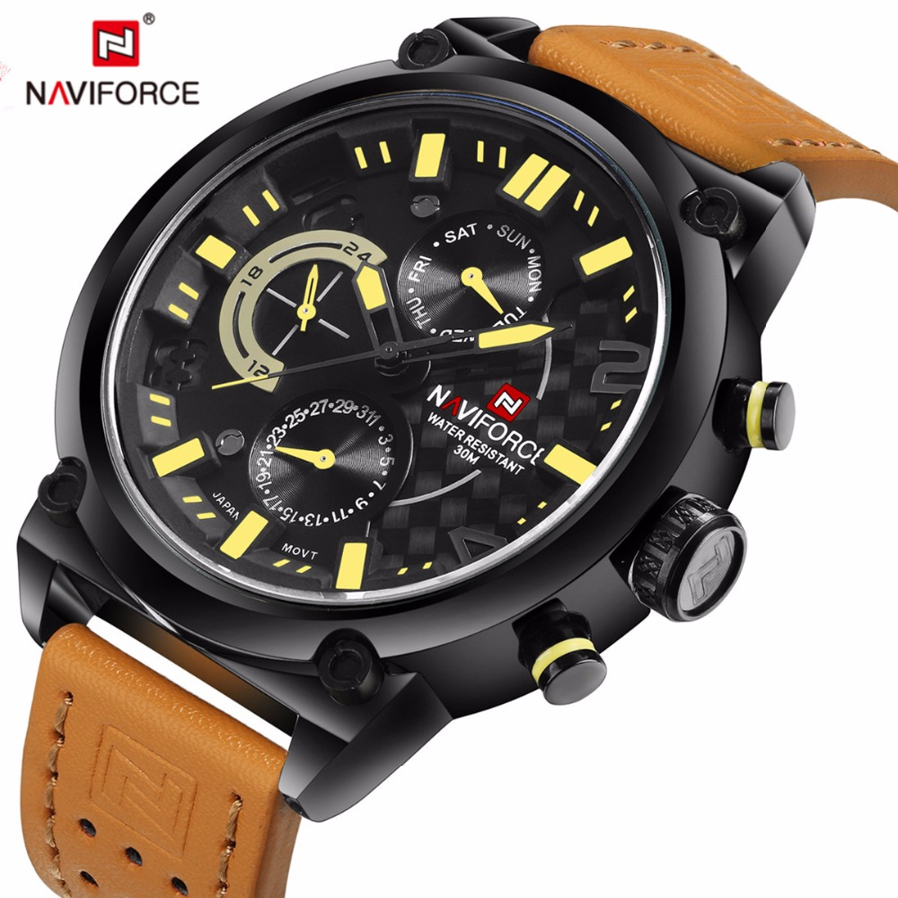 ФОТО Watch Men NAVIFORCE Luxury Brand Waterproof Sport Wristwatches Men Fashion leather quartz watch relogio masculino zegarek men