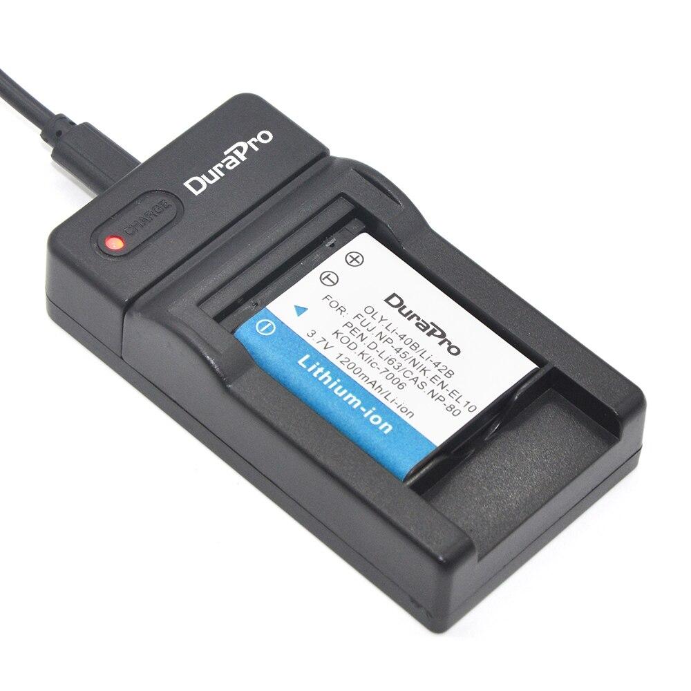 DuraPro EN EL10 Li 42B NP 45 D Li63 Klic 7006 battery Ultra Slim USB Digital