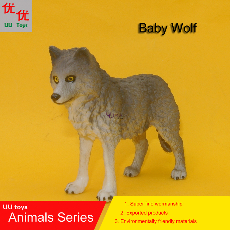 Hot toys:Baby Grey Wolf Simulation model  Animals   kids  toys children educational props
