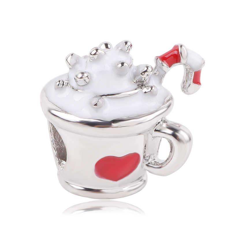 AIFEILI Fit Pandora bransoletki bransoletki naszyjnik DIY Mickey Minnie Snowflake mama wisiorek z niebieskim kryształem srebrne wisiorki z koralikami
