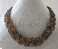 CBN511 Handmake 17 6row natural 5mm round tiger eye necklace GP clasp