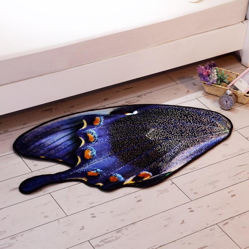 Originalité violet papillon en forme de tapis salon chambre chevet bébé ramper tapis doux coton porte tapis 130*75 cm zone tapis