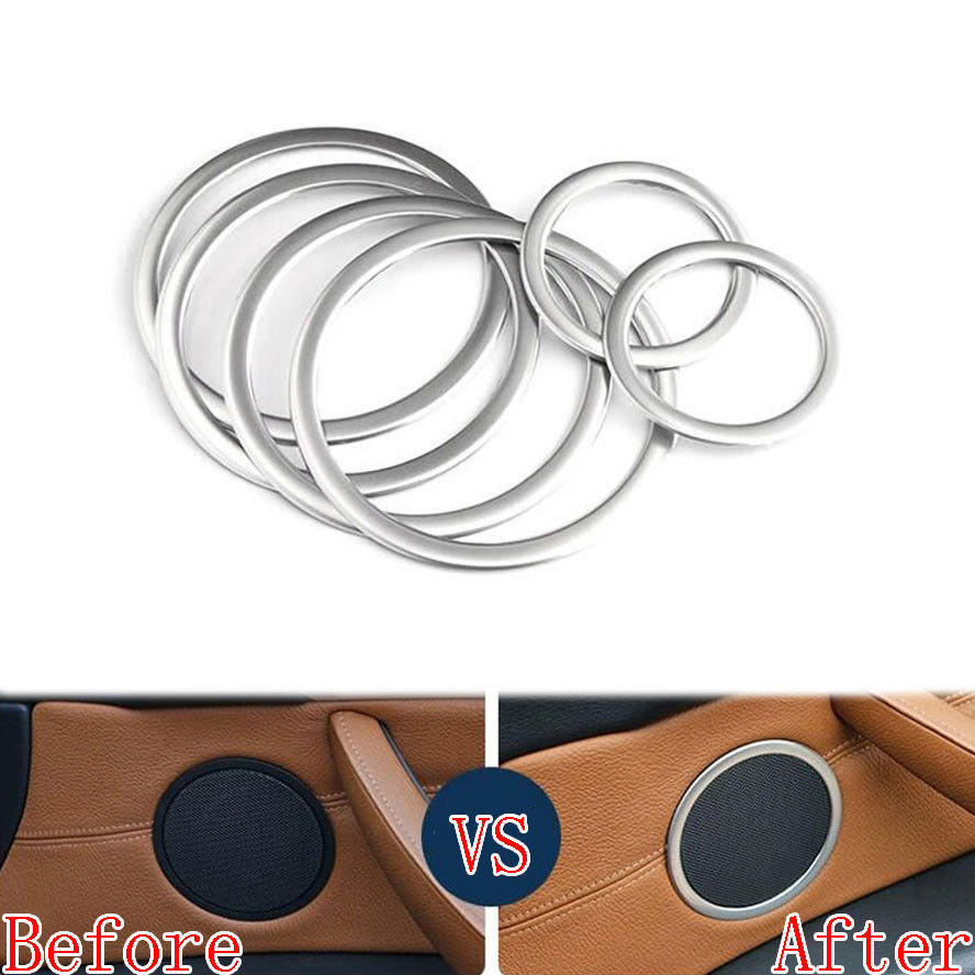 6pcs Stainless steel Car Interior decoration decals Door Speaker Ring Cover Trim For bmw X5 E70 2011 2012 2013 car styling 4pcs set steel interior side door handle bowl cover trim car styling for bmw x5 e70 2008 2009 2010 2011 2012 2013