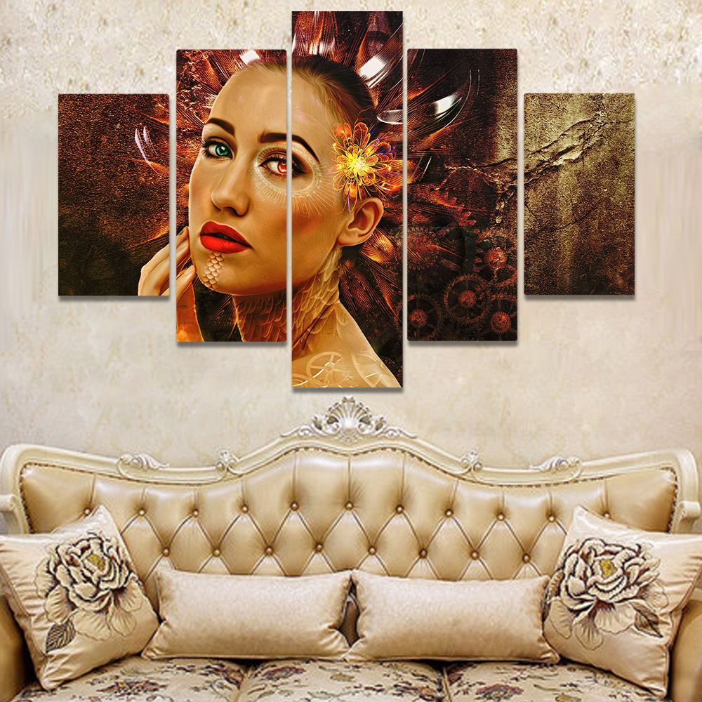 Unframed Canvas Painting Body Painting Colored Pupil Gear Flower Picture Prints Wall Picture For Living Room Wall Art Decoration