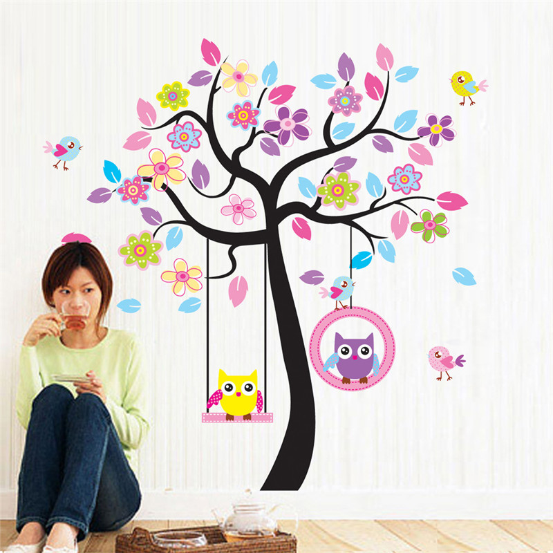 Zn New Owl Bird Swing Tree Wall Stickers Decals Cartoon Home Decor For Kids Rooms Children Baby Nursery In From Garden