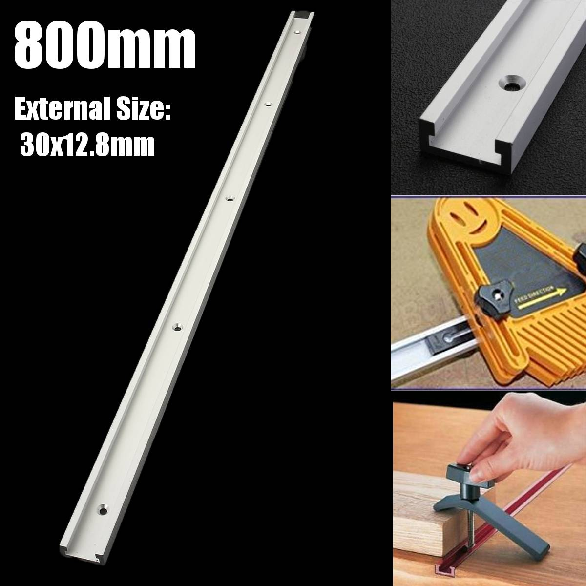 Aluminium Alloy T-track Slot Miter Track Jig Fixture For Router Table Bandsaws Woodworking DIY Tool Length 800mm