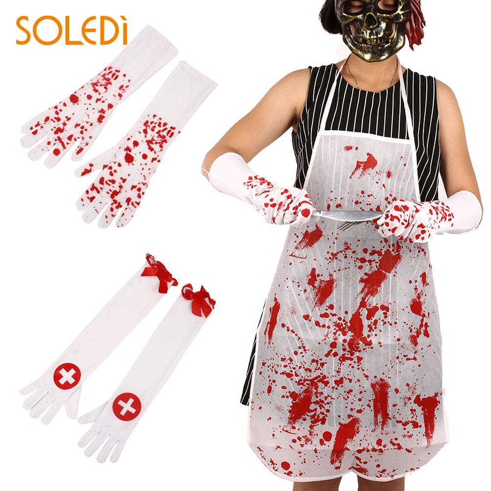 Halloween Nurse Bloody Cross Gloves Long White+Red Ballroom Fancy Dress Decors