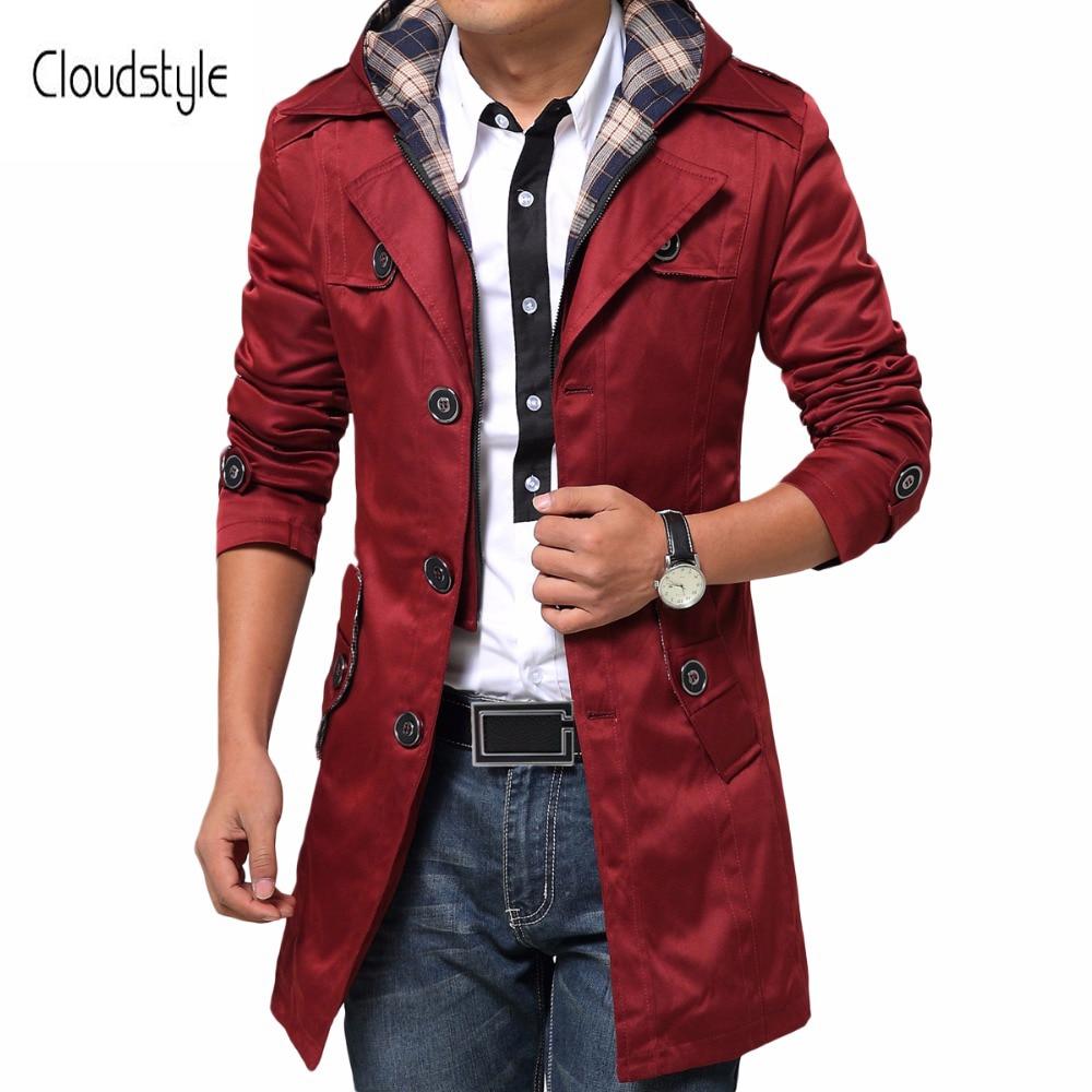 Cloudstyle плюс Размеры 6xl Новое поступление мужской пальто Модные свободные пальто пыли Однобортный Пальто Длинные Для мужчин Smart Повседневное ...