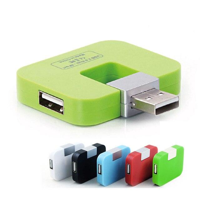 Cuadrado micro usb hub 2.0 4 puertos lector de tarjetas de alta velocidad Multi USB Divisor Hub USB Todo En Uno para PC Ordenador accesorios