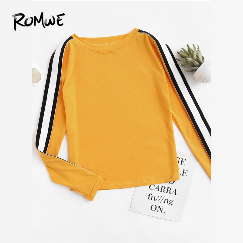 a1bab15864 ROMWE Striped Tape Sleeve Ginger Tee Ladies Round Neck Long Sleeve Tops  Spring Autumn Women Clothing Casual T Shirt