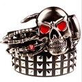 Cheia grande fivela de metal cintos cinto de rebite crânio fantasma mão de deus olhos diabo fantasma osso cinto garra punk rock estilo show de cinto homens