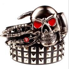 Full big rivet belt skull ghost hand gods metal buckle belts devil eyes bone ghost claw belt punk rock style show girdle men