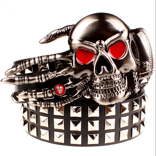 Full big rivet belt skull ghost hand god's metal buckle belts devil eyes bone ghost claw belt punk rock style show girdle men