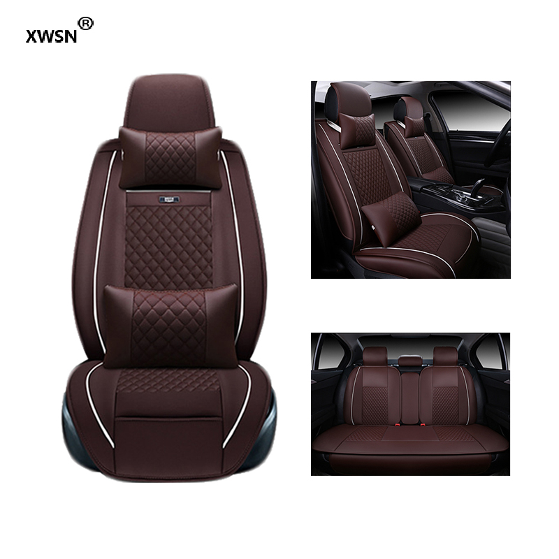 XWSN Special leather car seat cover for Chevrolet Lada Opel Skoda Volvo MiNi Mazda car accessories auto styling Automobiles interior accessories car seat covers compatible with 95% vehicles seat cover for lada volkswagen brown black seat protector