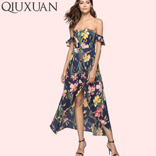 QIUXUAN Summer Floral Print Off Shoulder Dress Fashion Flutter Sleeve Wrap Front High Low Maxi Dress