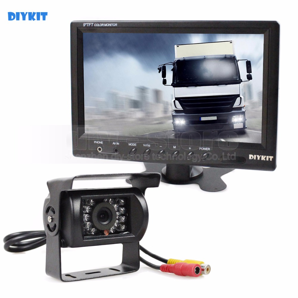"DIYKIT Wired 12V 24V DC 9"" Car Monitor Rear View Kit"