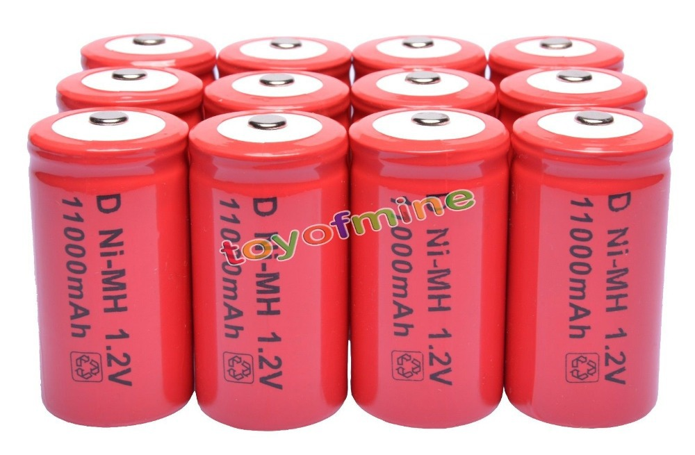 7/8/10/12 pièces D taille 1.2 V 11000 mAh Ni-MH batterie rechargeable couleur rouge