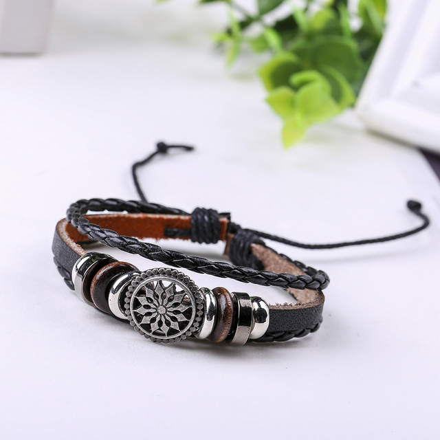 Cuff Leather Bracelets Wrist Band Vintage Punk Rock Fashion Sun Charm Bracelet Alloy Beads For