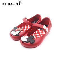2017 Nye Mini Melissa Sko Mickey Og Minnie Sko Crystal Jelly Sandals Børnesko Fish Head Shoes Red Black