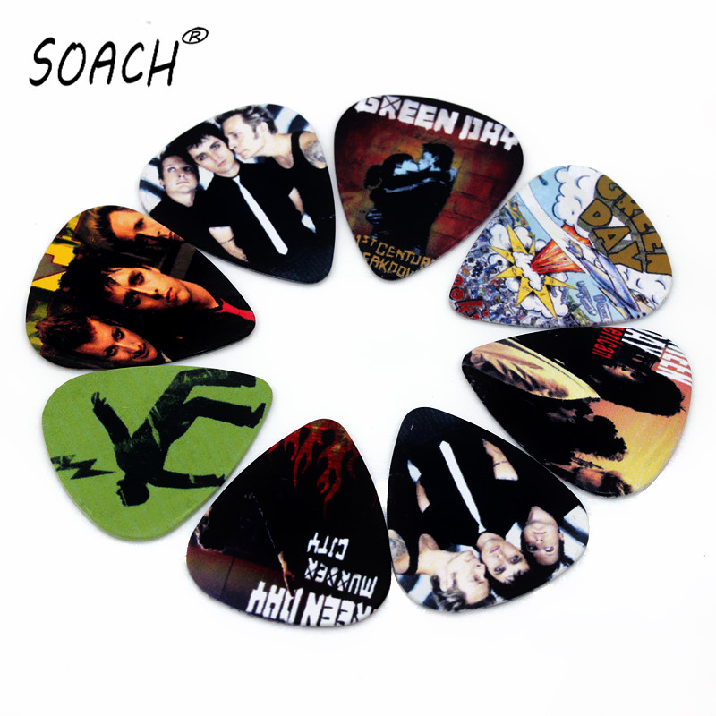 soach 10pcs 0 46mm guitar paddle blue background personality mixed pattern pvc double sided printing instrument accessories SOACH guitar tuner 10pcs 0.71mm Green day band two side earrings pick DIY design Guitar Accessories  pick guitar picks