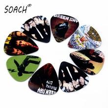 SOACH guitar tuner 10pcs 0.71mm Green day band two side earrings pick DIY design Guitar Accessories  pick guitar picks