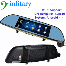 6.86″ Android 4.4 Car Camera DVR GPS Navigation Dual Lens Rearview Mirror Video Recorder FHD 1080P Automobile DVR Mirror