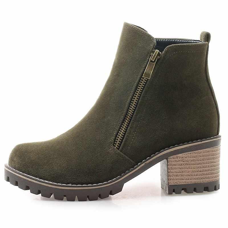 ข้อเท้าหนาหนารองเท้าผู้หญิงฤดูใบไม้ร่วงซิป FLOCK รองเท้า A232 ผู้หญิงสีดำสีเขียวสีเทารอบ Toe ส้นหนาขี่