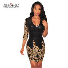 SEBOWEL Sequined dresses Party Black Gold/Silver 3/4 Sleeves Bodycon Dress Autumns Night Club Sexy Vestido de Festa LC22794