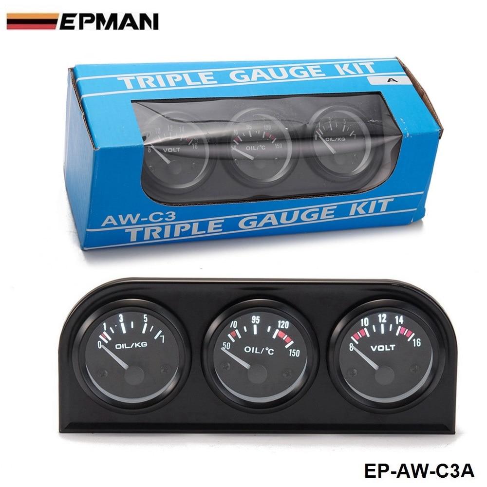 EPMAN - 52MM 3 In 1 Volt meter+water temp gauge+Oil Pressure Gauge Kit Volt meter Or Oil Temperature Gauge Triple Mete EP-AW-C3