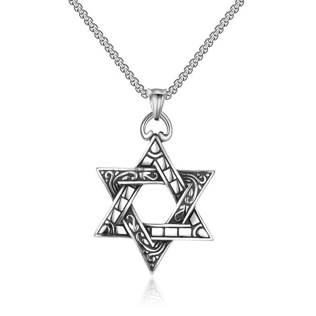 Hot Sale 316L Titanium Steel Six-pointed Star Pendant Necklace Vintage Punk  Rock Men s Jewelry bb6a491ed864