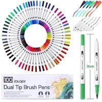 100 цветная двойная щетка маркер для рисования тонкий наконечник и наконечник отлично подходит для пулевых журналов раскраски для взрослых ...