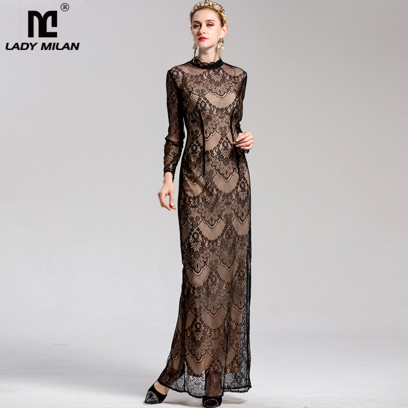 New Arrival 2018 Spring Summer Womens O Neck Long Sleeves Elegant Party Prom Fashion Maxi Mermaid Lace Dresses in 2 Colors