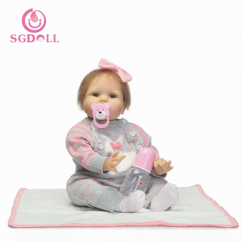 55cm/22''Handmade Lifelike Baby Girl Doll Silicone Vinyl Reborn Newborn Dolls+Clothes 7030127 pink wool coat doll clothes with belt for 18 american girl doll