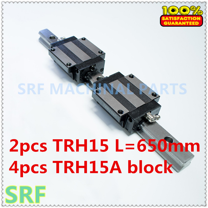 High quality 15mm  Precision Linear Guide Rail 2pcs TRH15 L=650mm +4pcs TRH15A Flange block for CNC tbi 2pcs trh20 1000mm linear guide rail 4pcs trh20fe linear block for cnc