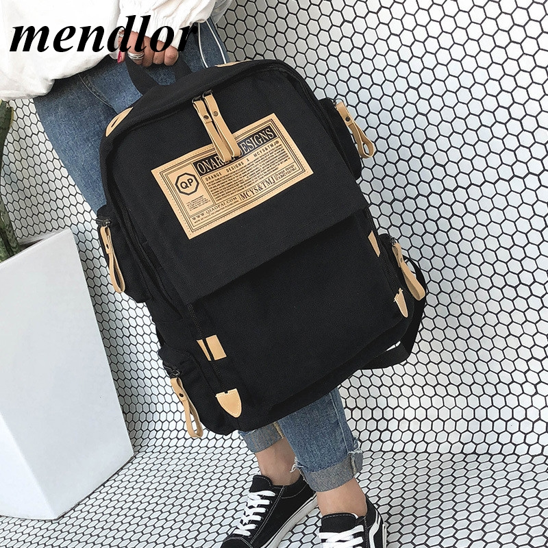 Marca de moda mochila feminina bolsa de ombro sacos de escola para adolescentes meninas meninos casual sólida mochila escolar